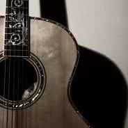 Image of an acoustic guitar with shadow